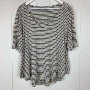 Maurices Blouse Top XL Striped Criss Cross